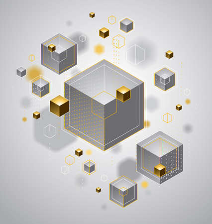 Abstract vector design with cluster of 3D cubes with golden elements vector design, luxury or jewelry color style, can be used for technology and science abstraction art. Vetores
