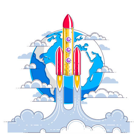 Rocket launch over planet earth into undiscovered space. Explore universe, breathtaking space science. Thin line 3d vector illustration isolated on white. 일러스트