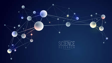Molecules vector abstract background, 3D dimensional science chemistry and physics theme design element, atoms and particles micro nano scientific illustration. Ilustracja
