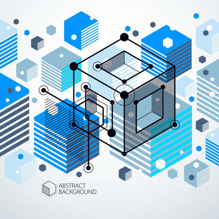 Engineering technological blue vector 3D wallpaper made with cubes and lines. Illustration of engineering system, abstract technological backdrop. Abstract technical background.