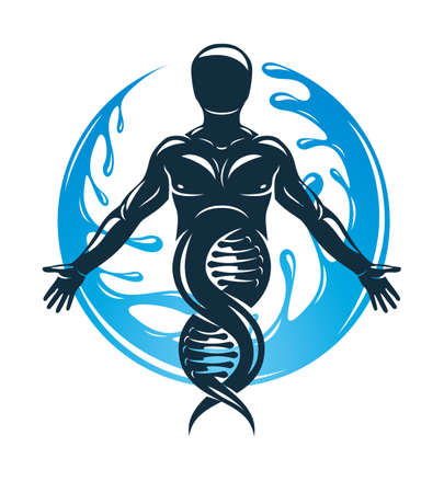 Vector graphic illustration of strong male created as scientific model of human DNA and surrounded by a water ball. Eco friendly technology, technology and nature interaction. Ilustracja