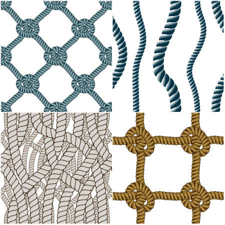 Seamless patterns rope woven vectors set, abstract illustrative backgrounds collection. Endless navy illustrations with fishing net ornament and marine knots. Usable for fabric, wallpaper, wrapping, web and print. Ilustracja