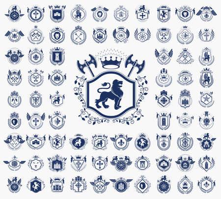 Vintage heraldic emblems vector big set, antique heraldry symbolic badges and awards collection, classic style design elements, family emblems. Vecteurs