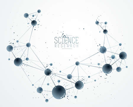 Molecules and atoms vector abstract background, science chemistry and physics theme illustration, micro and nano research and technology theme, microscopic particles.