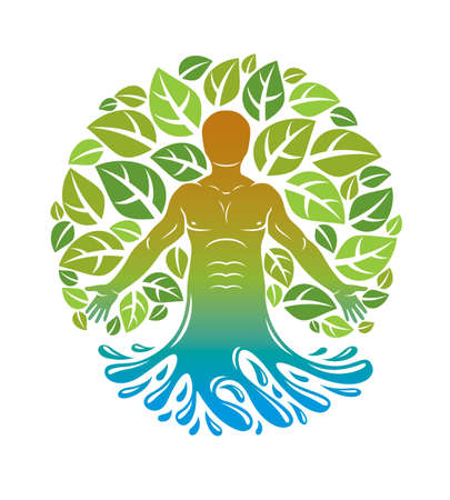 Vector athletic man emerges from sea and created using organic green tree leaves. Healthy lifestyle illustration, phytotherapy metaphor.