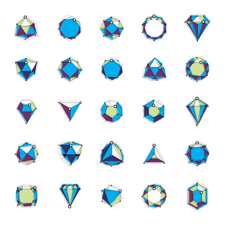 Vector luxury faceted decorative elements. Set of low poly objects with connected lines and dots, 3d geometric wireframe shapes for use corporate development logos.
