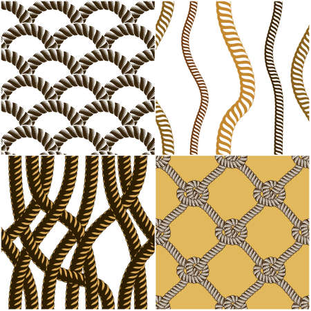 Seamless nautical rope patterns vector set. Endless navy illustration with loop cord lines ornaments collection. Endless navy illustrations with fishing net ornament and marine knots. Usable for fabric, wallpaper.