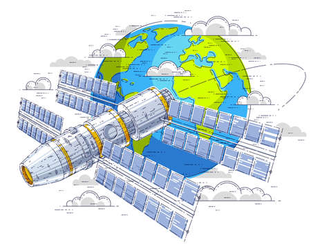Space station flying orbital spaceflight around earth, spacecraft spaceship iss with solar panels, artificial satellite. Thin line 3d vector illustration. Ilustracja