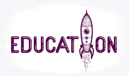 Education word with rocket instead of letter, study and learning concept, vector conceptual creative or poster made with special font. Ilustracja
