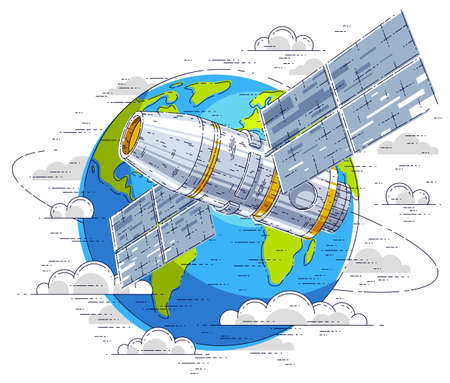 Space station orbiting around earth, spaceflight, spacecraft spaceship iss with solar panels, artificial satellite. Thin line 3d vector illustration.
