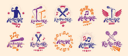Karaoke logos and emblems vector set, microphones and musical notes singing party or club compositions isolated collection, music entertainment nightlife weekend holidays or birthday theme.