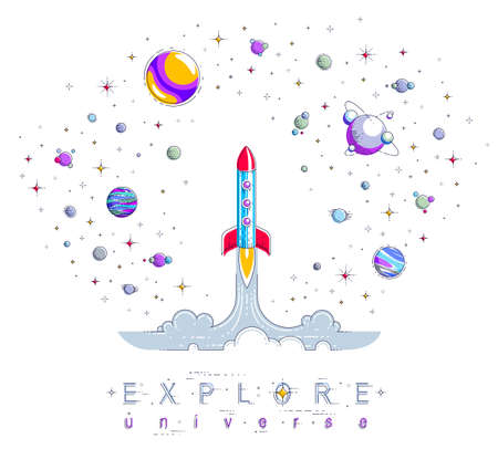 Rocket launch into undiscovered space, surrounded by fantastic planets, stars and other elements. Explore universe, space science. Thin line 3d vector illustration isolated on white. Ilustracja