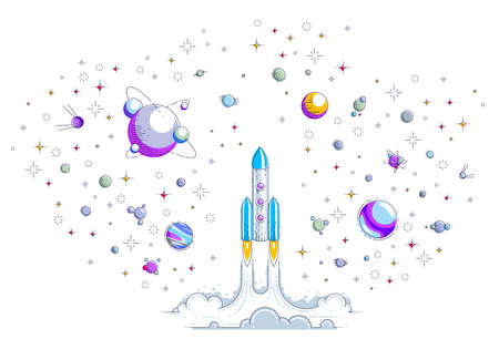 Rocket start up to space to explore undiscovered galaxy, surrounded by fantastic planets, stars and other elements. Discover universe, space science. Thin line 3d vector illustration.