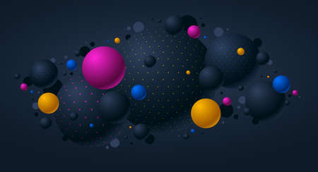 Black and color dotted spheres vector illustration, abstract background with beautiful balls with dots, 3D globes design concept art.