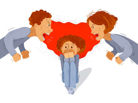 Parents abusers screams and shout on scared little kid boy their son, abusive parents domestic violence, psychological violence abuse, child victim trauma, vector cartoon.
