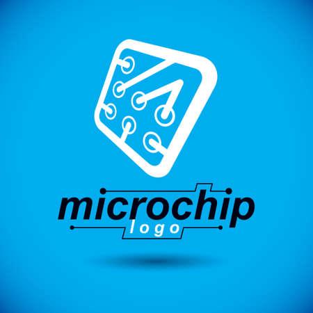 Vector microchip design, cpu. Information communication technology element, circuit board in square shape. Microprocessor scheme abstract logo. Ilustração