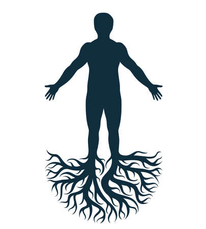 Vector art graphic illustration of strong male, body silhouette created using tree roots. Slavic ancient pagan god metaphor.