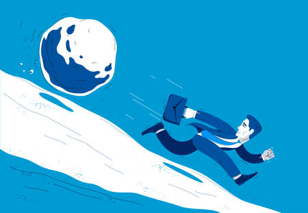 Business man run from a stone symbolizes problems such as debt crisis or taxes vector illustration, funny comic cute cartoon businessman worker or employee in a rush. Ilustração