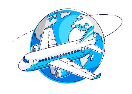 Airlines air travel emblem or illustration with plane airliner and planet earth. Beautiful thin line vector isolated over white background.