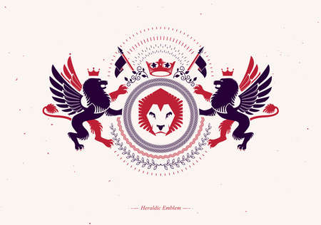 Vector emblem made in vintage heraldic design and composed using wild lions and monarch crown
