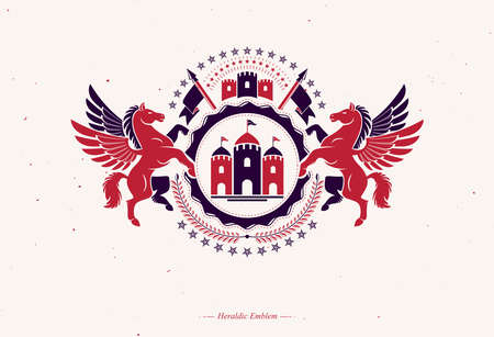 Retro vintage Insignia. Vector design element created using mythic Pegasus illustration, pentagonal stars and ancient castle..