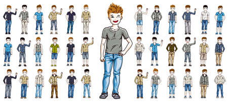 Cute little child boys early teenagers in different casual wear standing in full length and posing vector illustrations isolated big set, happy beautiful kids drawings collection, people diversity.  イラスト・ベクター素材