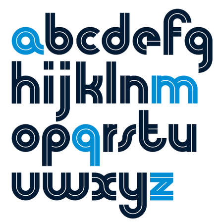 Set of vector bold lower case alphabet letters with white lines, best for use in logotype design in telecommunication theme. Logo
