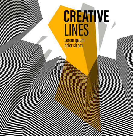 3D black and white lines in perspective with yellow elements abstract vector background, linear perspective pattern op art. Ilustração