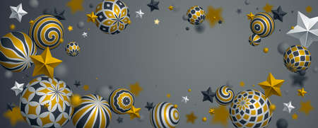 Abstract shiny spheres and stars vector background, composition of flying balls decorated with patterns of shiny gold, 3D mixed variety realistic globes with ornaments, with blank copy space.