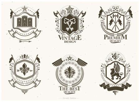 Classy emblems, vector heraldic Coat of Arms. Vintage design elements collection. Vecteurs