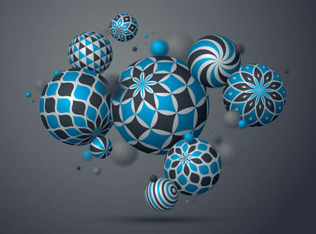 Abstract spheres vector background, composition of flying balls decorated with patterns, 3D mixed variety realistic globes with ornaments, realistic depth of field effect.