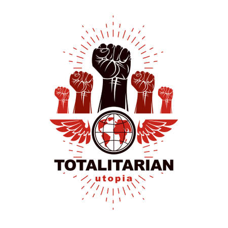 Winged clenched fists of angry people vector emblem. Power and authority conceptual illustration, nonconformist idea.