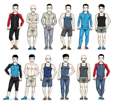 Handsome men in sport wear standing and posing vector illustrations big set isolated on white, attractive gorgeous males in full length people characters collection slim perfect athletic body. 向量圖像