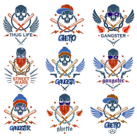 Gangster emblem logo or tattoo with aggressive skull baseball bats and other weapons and design elements, vector set, criminal ghetto vintage style, gangster anarchy or mafia theme.