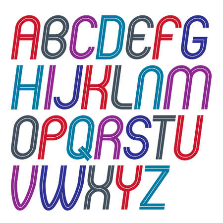 Set of vector upper case rounded delicate English alphabet letters made with white lines, can be used for logo creation in public relations business