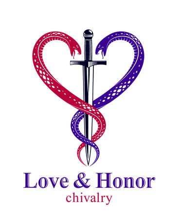 Dagger and two snakes in a shape of heart vector vintage style emblem or logo, chivalry love and honor concept, medieval Victorian style.