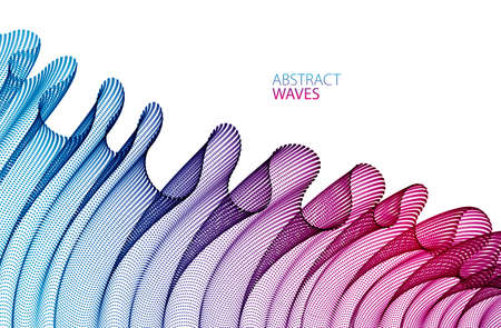Vector abstract background with wave of flowing particles, smooth curve shape lines, transparent tulle textile on wind. 3d shape dots magic blended mesh.