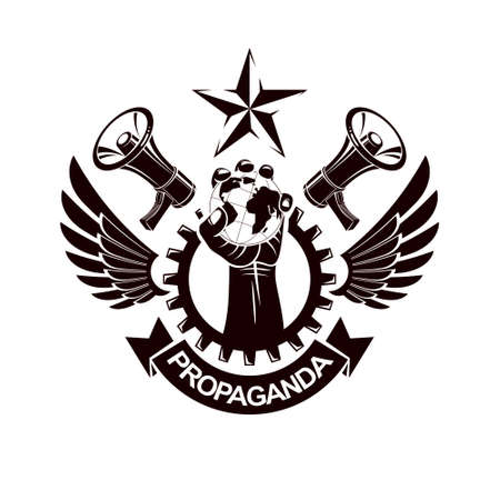 Vector emblem composed with revolutionary clenched fist holding Earth surrounded by gear symbol, liberty wings and loudhailers. Propaganda as the means of influence on global public opinion.