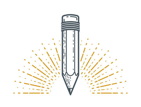 Pencil vector logo or icon of education or science knowledge, art and design, theoretical science research vector logo or emblem.