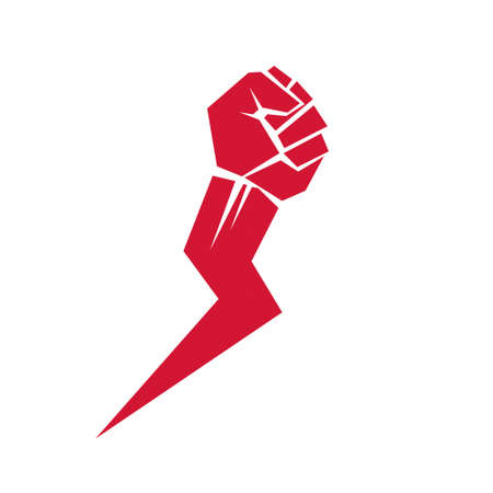 Vector illustration of clenched fist in the shape of lightning can be used as tattoo. Power and authority conceptual logo.