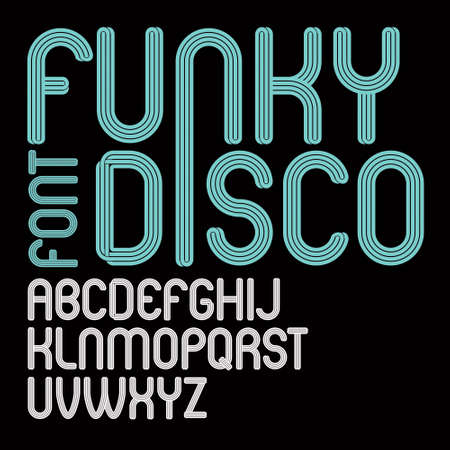 Vector script, modern freaky alphabet letters set, for use as retro poster design elements for fun club or concert advertising.