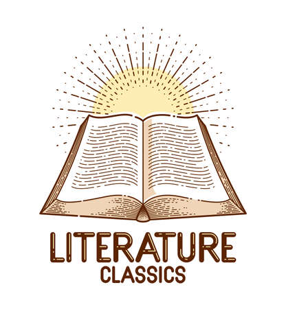 Vintage open book vector graphic design element, literature and reading theme, logo or icon or emblem trendy linear style.