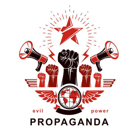 Marketing banner composed with loudspeakers, raised clenched fists and Earth planet, vector illustration. Propaganda as the means of influence on global public opinion. 矢量图像