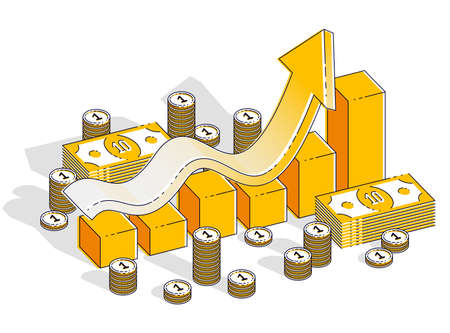 Success and income increase concept, growth chart stats bar with cash money stack isolated on white background. Vector 3d isometric business and finance illustration, thin line design.