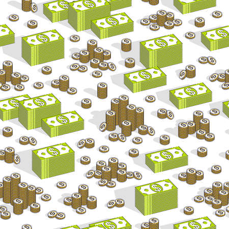 Money cash seamless background, backdrop for financial business website or economical theme ads and information, dollar currency money signs, vector wallpaper or web site background.