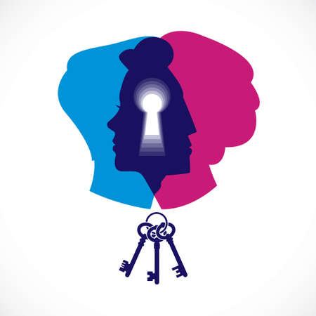 Gender psychology concept created with man and woman heads profiles and keyhole with key of understanding, vector logo or illustration of relationship problems and conflicts in family and society. Logó