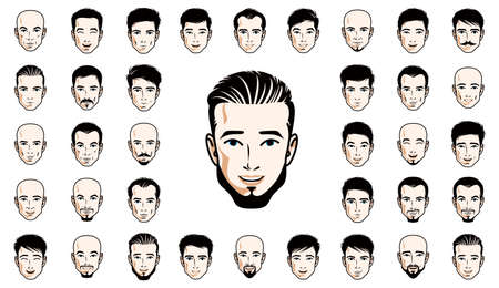 Handsome men faces and hairstyles heads vector illustrations set isolated on white background, guy happy attractive beautiful faces avatars collection with different haircuts.