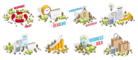 Business and finance concepts 3D vector illustrations set isolated on white background, money theme conceptual design collection, savings, bank, contract, income, safety, online. Çizim