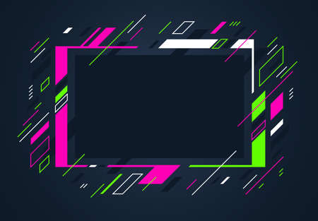 Artistic colorful frame with different elements over dark, vector abstract background art style bright shiny colors, geometric design. Vector Illustratie
