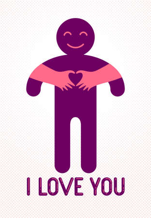 Love arms hugging lover and shows heart shape gesture hands, lover woman hugging his man and shares love, vector icon logo or illustration in simplistic symbolic style.